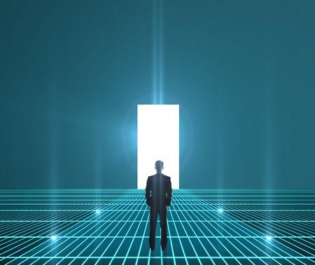 doorways: businessman looking at interface world hole