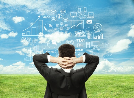 businessman looking at business strategy on field background photo