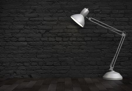 desk lamp: Vintage white  desk lamp in brick interior Stock Photo