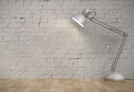 white desk lamp in brick interior Stock Photo - 21693180