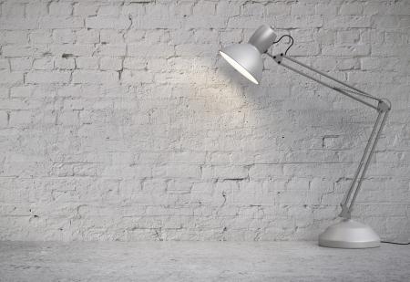 desk lamp in white  brick interior Stok Fotoğraf