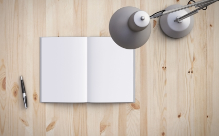 modern lamp: opened book on the table with lamp