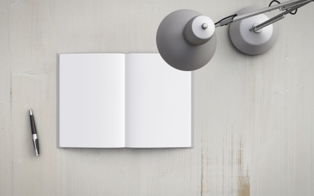 modern lamp: opened book on the table with white lamp Stock Photo