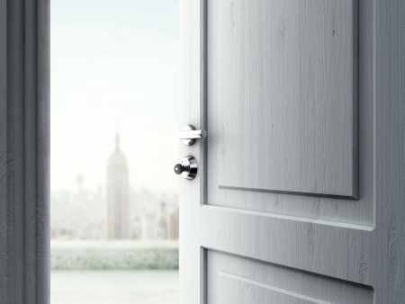 business opportunity: opened door with key in lock in city