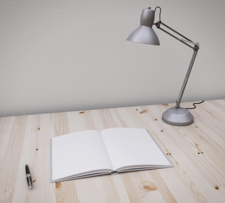 opened book and pen on the table with lamp Stock Photo - 21689910