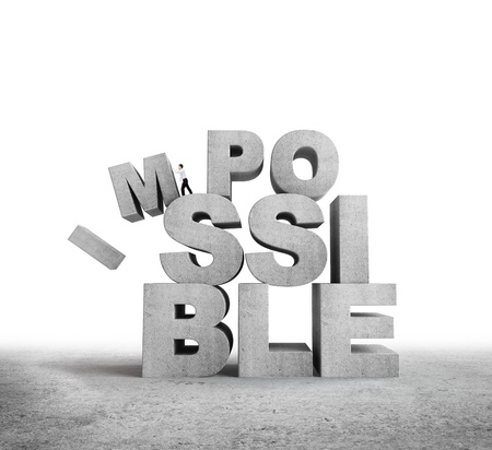 infeasible: man pulling letters impossible concept