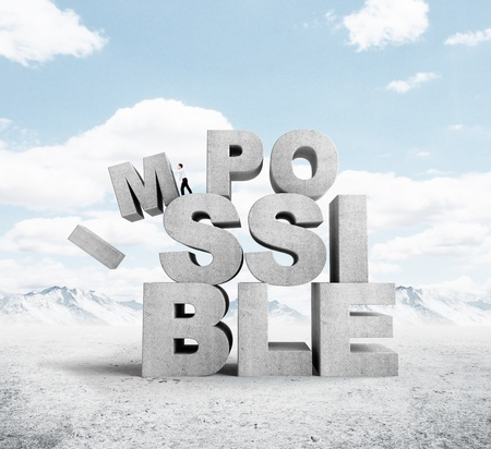 infeasible: businessman pulling letters impossible concept on nature background Stock Photo