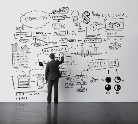 businessman drawing concept in office Stock Photo - 21862286