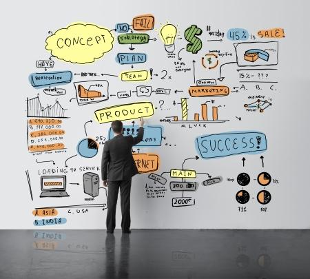 tiếp thị: khái niệm người đàn ông vẽ trong văn phòng