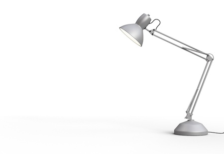 グレーに分離されたビンテージ ホワイト デスク ランプ