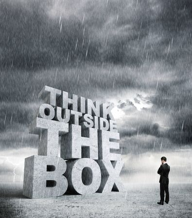 big think outside the box and man photo