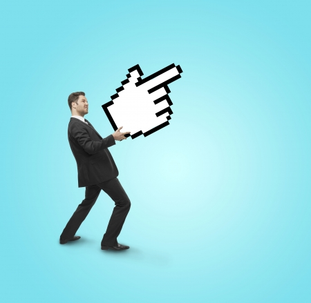 cursor hand: businessman holding pointer in hand  on a blue background