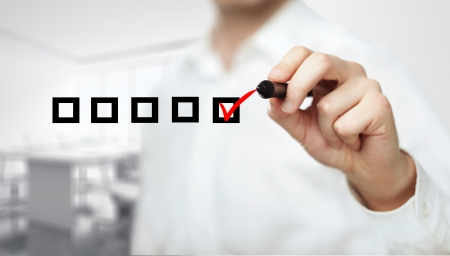 hand tekening selectievakje op een witte achtergrond Stockfoto