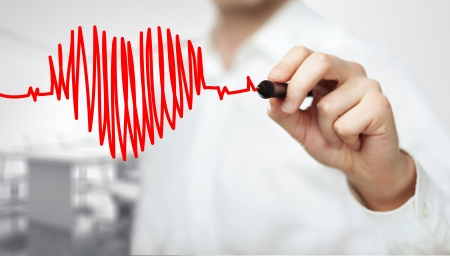 건강: 차트 심장 박동을 그리기 고해상도 남자 스톡 콘텐츠
