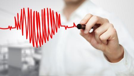 health: Hoge resolutie man tekening grafiek hartslag
