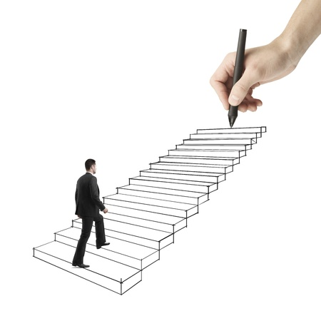 difficult journey: businessman walking on drawing ladder