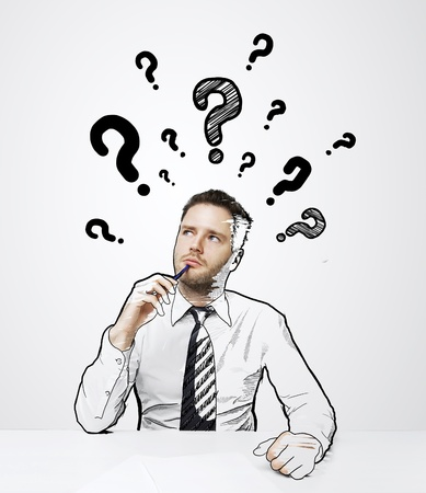 thinking drawing businessman with question mark over head photo