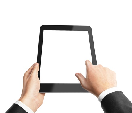 touch pad: hand holding and pusning touch pad Stock Photo