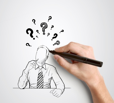 hand drawing businessman with question mark over head photo
