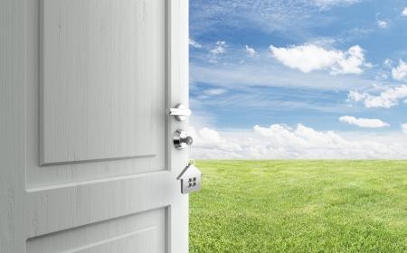 key to freedom: puerta abierta con la llave en la cerradura en el campo Foto de archivo