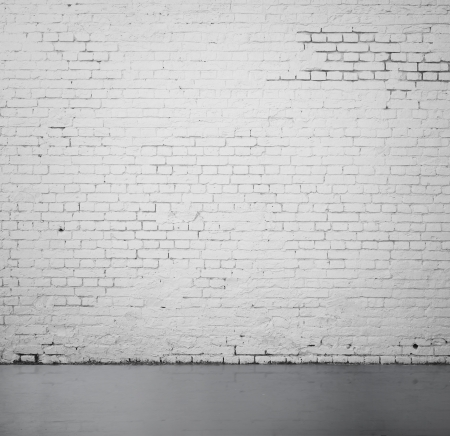 high resolution white brick wall and floor Zdjęcie Seryjne
