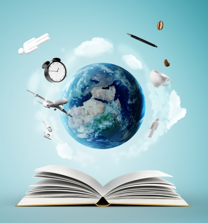 research education: open book and earth, education concept