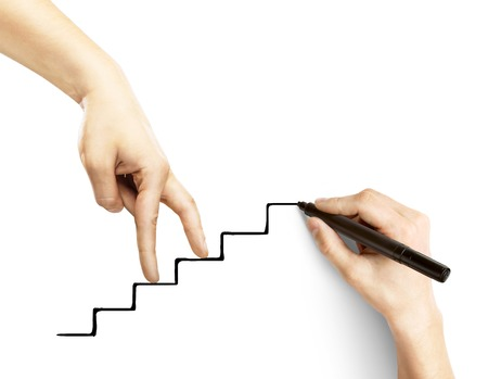 staircase: hands walking on drawing stairs