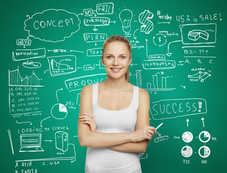 woman and drawing plan business concept on green wall photo