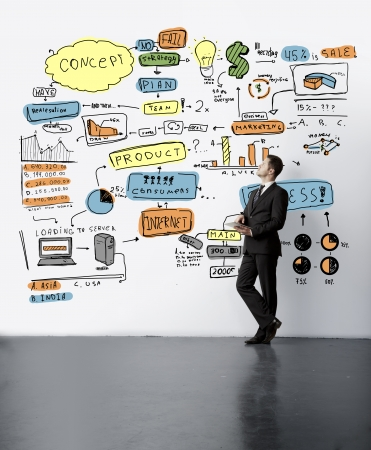 businessman lookig at drawing concept on wall photo
