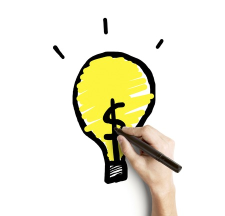 hand drawing yellow bulb on a white background Stock Photo - 22392771