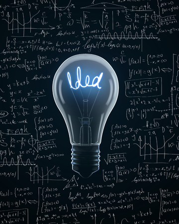 filaments: Light bulb with idea text on  mathematics  formula backgrounds