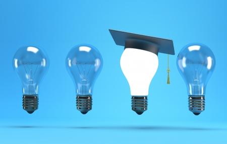 academic achievement: lightbulb with graduation hat  on a blue background