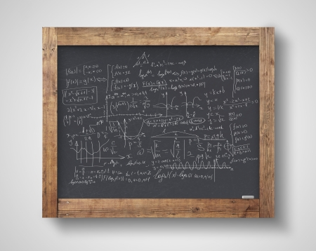 blackboard with mathematical formulas on a gray wall photo