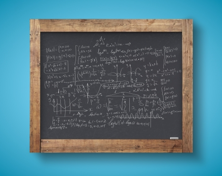 blackboard with mathematical formulas on a blue wall photo
