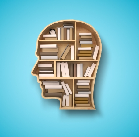 literatures: book shelf in form of head on blue backgrounds