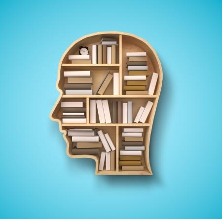 literatura: estante de libro en forma de cabeza en fondo azul
