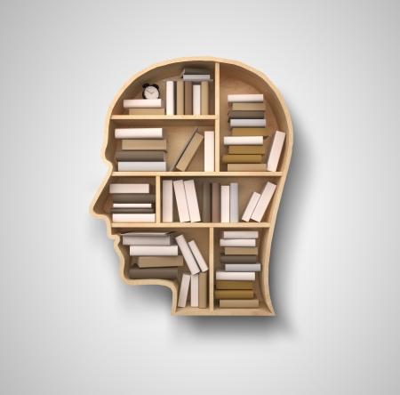 znalost: Kniha police ve tvaru hlavy na šedé pozadí Reklamní fotografie