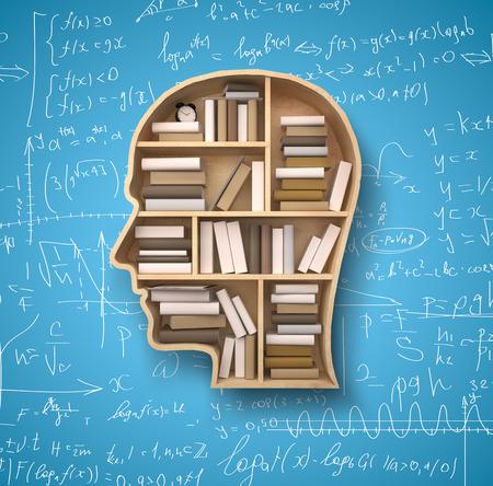 libros: estante en forma de la cabeza y los libros de f�rmulas fondos