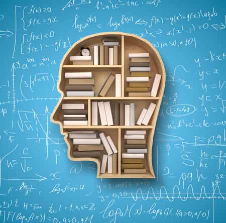 mathematical proof: shelf in form of head and books on formulas backgrounds Stock Photo