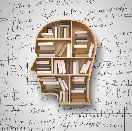 book shelf in form of head on formulas backgrounds Stock Photo - 22471024