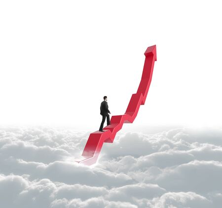 businessman climbing a red arrow in cloud photo