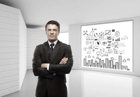 aspirations ideas: businessman thinking in white room