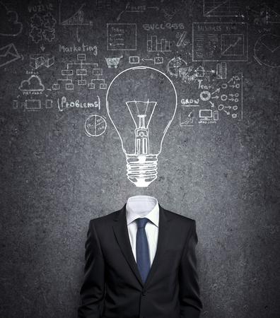 businessman with bulb in head and drawing concept Stock Photo - 22470646