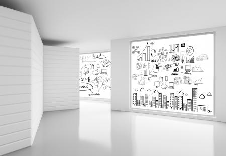 blanc: salle blanche et une affiche avec le concept Banque d'images
