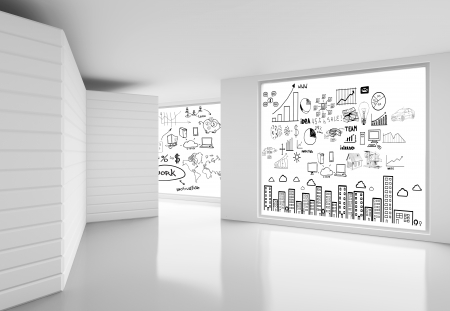 white office: white room and poster with concept