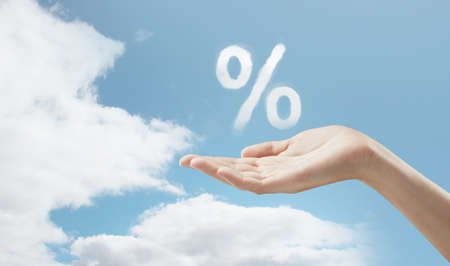 cloud shape: hand in sky holding percentage