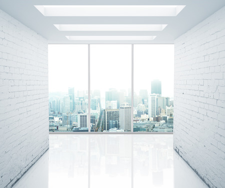 cement floor: office with a view of city