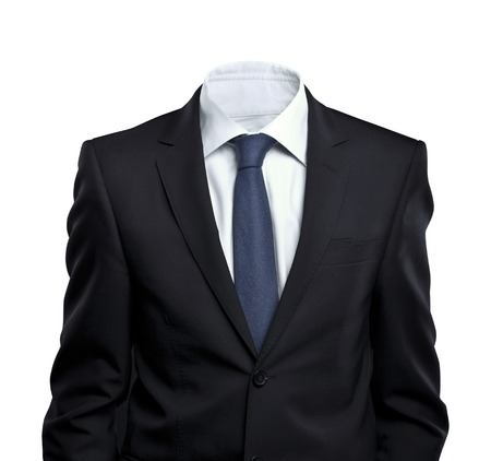 suit coat: businessman without head on white background