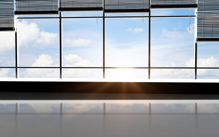 jalousie: sunlight office and view sky in window Stock Photo