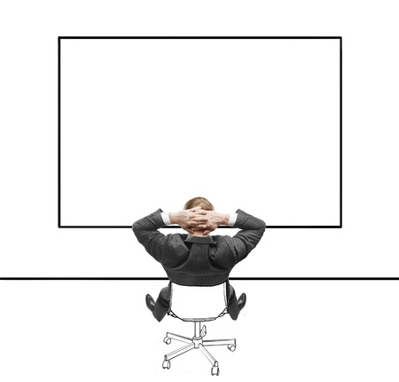 businessman sitting on chair and looking at blackboard Stock Photo - 22613540